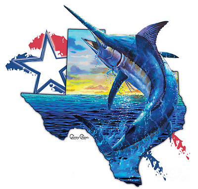 Shark Painting - Bigger In Texas by Carey Chen