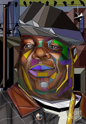 Rap Painting - Biggie Living In Color by Reggie Duffie