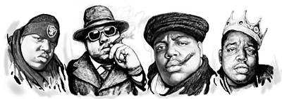 Smallmouth Bass Drawing - Biggie Smalls Art Drawing Poster by Kim Wang
