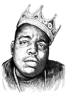 Biggie Painting - Biggie Smalls Art Drawing Sketch Portrait - 1 by Kim Wang