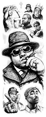 Biggie Smalls Blackwhite Drawing Art Poster Art Print by Kim Wang