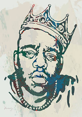 Artist Mixed Media - Biggie Smalls Modern Etching Art Poster by Kim Wang