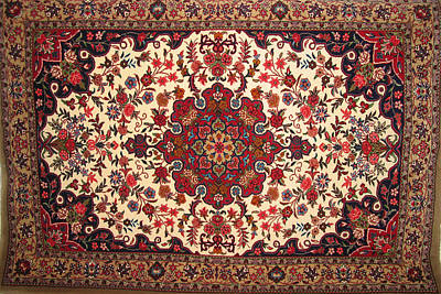 Bijar Red And Khaki Silk Carpet Persian Art Original by Persian Art