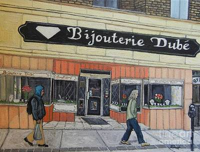 Quebec Streets Painting - Bijouterie Dube by Reb Frost