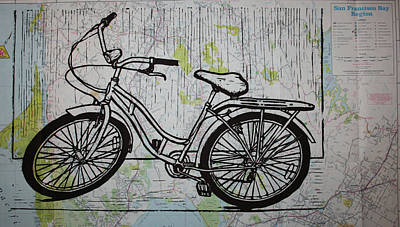 Linoluem Drawing - Bike 5 On Map by William Cauthern