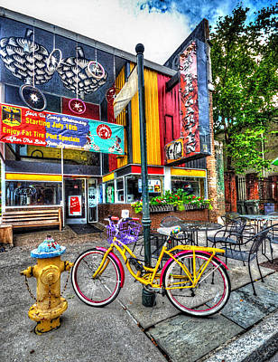 Digital Art - Bike And Beer Garten  by Michael Thomas