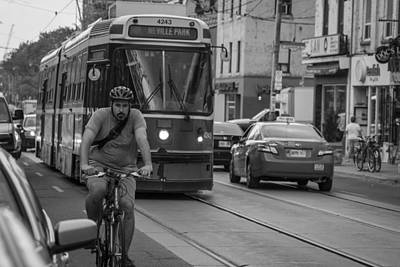 Photograph - Bike And Trolley In Toronto  by John McGraw