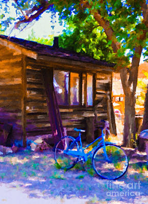 Painting - Bike At Hillside Cabin by Teri Brown