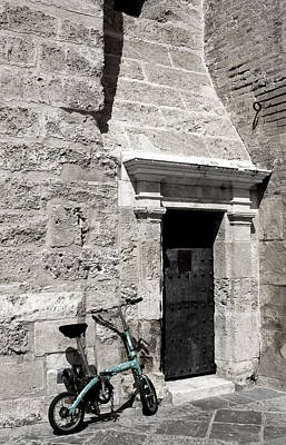 Photograph - Bike At The Ancient Door by Lorraine Devon Wilke