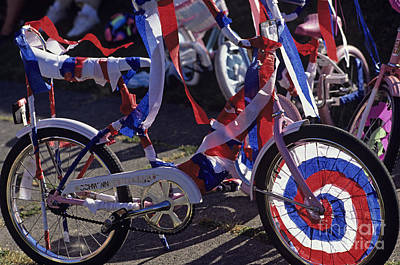 Photograph - Bike Covered With Red White And Blue Streamers by Jim Corwin