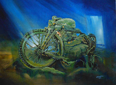 Bike In A Different Dimension Art Print by Ottilia Zakany