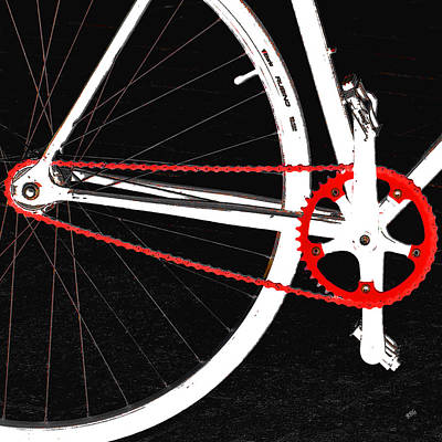 Minimal Art Photograph - Bike In Black White And Red No 2 by Ben and Raisa Gertsberg