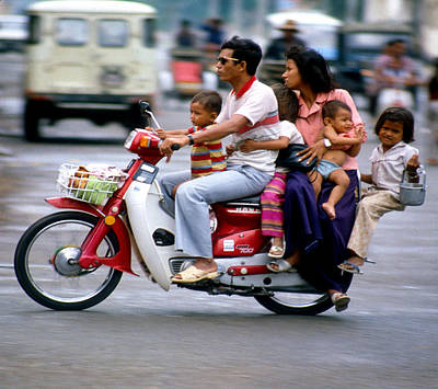 Photograph - Family Car In Cambodia by Joe  Connors