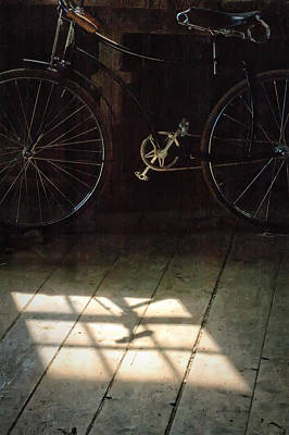 Photograph - Bike Light And Shadow In Barn by Gary Slawsky