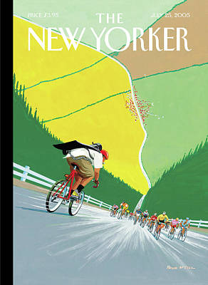 Sports Painting - Bike Messenger Racing Towards Bikers Racing by Bruce McCall
