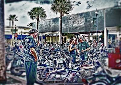 Fort Pierce Digital Art - Bike Night Scene by Richard Hemingway