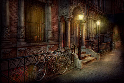 Antique Ironwork Photograph - Bike - Ny - Greenwich Village - In The Village  by Mike Savad