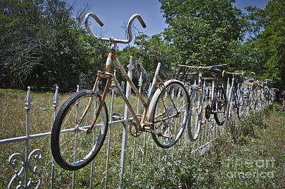 Handle Photograph - Bike On Fence Part 1 by Hilton Barlow