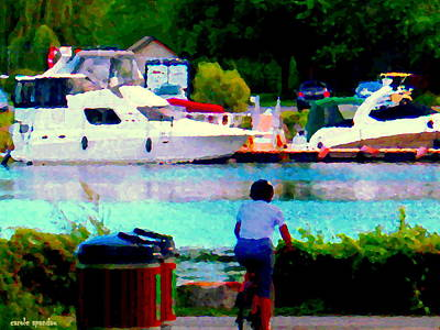 Summer Along The Canal Painting - Bike Path View Of The River Boats Along Lachine Canal Montreal Summer Landscape Scenes Carole Spanda by Carole Spandau
