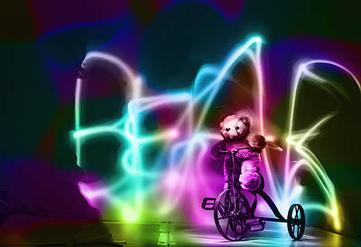 Digital Art - Bike Riding Bear by Susan Stone