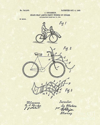 Wheel Drawing - Bike Seat 1903 Patent Art by Prior Art Design