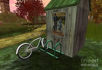 Shed Digital Art - Bike Stand by Wild Rose Studio
