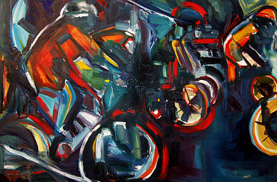 Painting - Bike Warm Up by John Jr Gholson