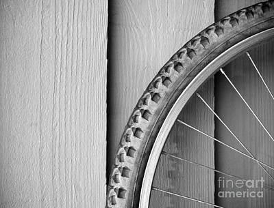Bike Wheel Black And White Art Print by Tim Hester