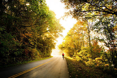 Photograph - Biker Along Blue Ridge Parkway In Fall by Gray  Artus