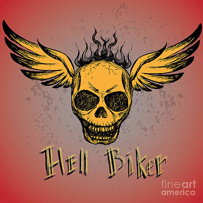 Death Wall Art - Digital Art - Biker Emblem, Logo Or Tattoo, Hand by Naum