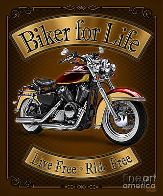 Biker For Life Art Print by JQ Licensing
