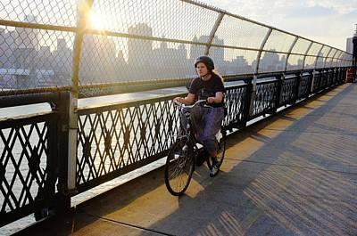 Biker Manhattan Bridge Art Print by Sergio  Munoz