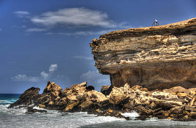 Art Print featuring the photograph Biker On The Rocky Cliff At La Pared by Julis Simo