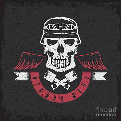 Biker Theme Grunge Label With Pistons Art Print