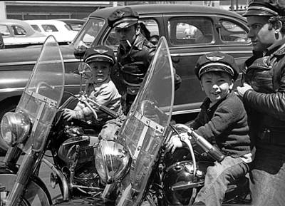 Father And Son Photograph - Bikers And Their Sons by Underwood Archives