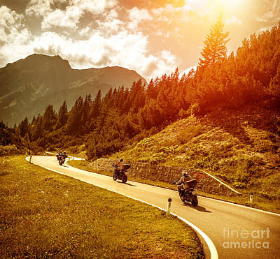 Photograph - Bikers On Mountains Road In Sunset by Anna Om