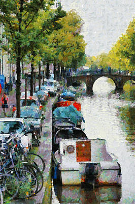 Bikes And Boats In Old Amsterdam Art Print