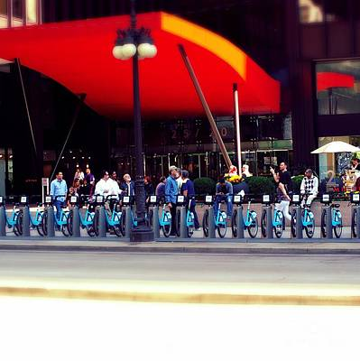 Frank J Casella Royalty-Free and Rights-Managed Images - Bikes Chicago by Frank J Casella