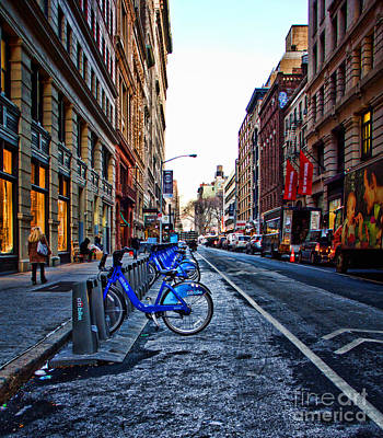 Thomas Kinkade Rights Managed Images - Bikes in the Snow Royalty-Free Image by Betsy Foster Breen