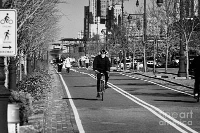 Joe Dimaggio Photograph - bikeway with sign next to West Side Highway new york city manhattan by Joe Fox