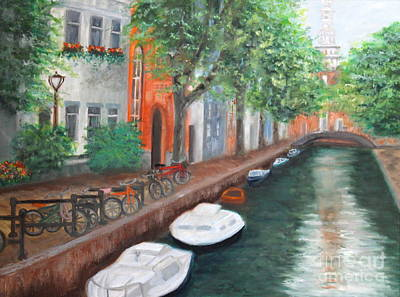 Painting - Biking Along The Canal by Tracey Peer