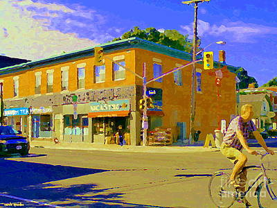 Painting - Biking By The Bakery On Bank The Glebe Nicastro Foods And David's Tea Ottawa Streetscene Cspandau    by Carole Spandau
