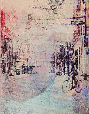 Biking In The City Art Print