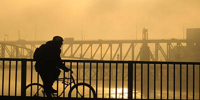 Art Print featuring the photograph Biking The Bridges by Joe Winkler
