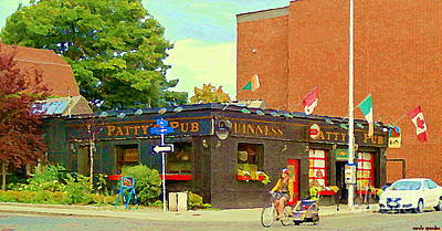 Painting - Biking With Baby On Board Bank St Bistro Pattys Pub The Glebe Streetscene Paintings Ottawa Cspandau by Carole Spandau