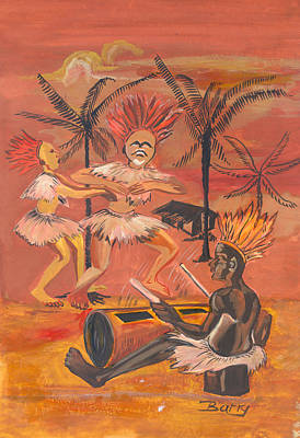 Art Print featuring the painting Bikutsi Dance From Cameroon by Emmanuel Baliyanga