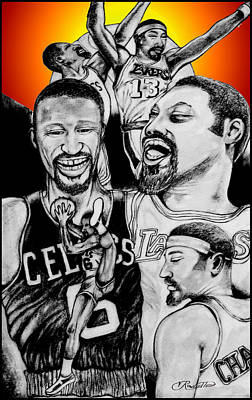 Basket Ball Drawing - Bill And Wilt by Vernon Rowlette