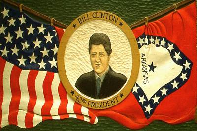 Democrat Drawing - Bill Clinton 42nd American President by Art America Gallery Peter Potter
