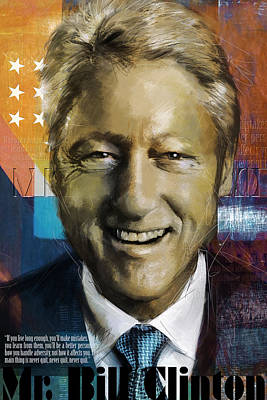 Politicians Paintings - Bill Clinton by Corporate Art Task Force
