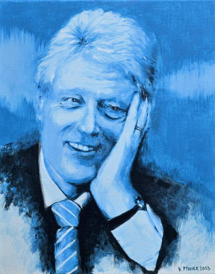 Bill Clinton Art Print by Victor Minca
